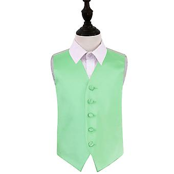 Boy's Mint Green Plain Satin Wedding Waistcoat