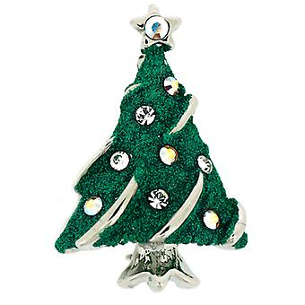 Brooches Store Silver Plated & Swarovski Crystal Green Glittery Small Christmas