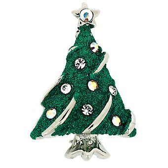 Broches winkel verzilverd & Swarovski Crystal Green Glittery kleine kerst