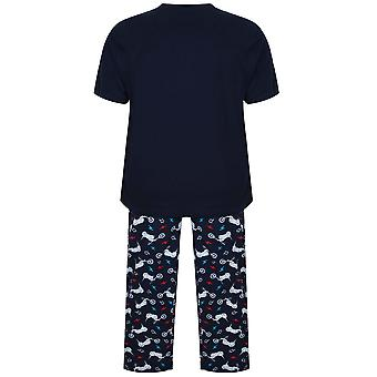 BadRhino Navy Motorbike Printed T-Shirt & Loungewear Bottoms Set