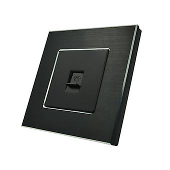 I LumoS Luxury Black Brushed Aluminium BT RJ11 Telephone Wall Single Socket