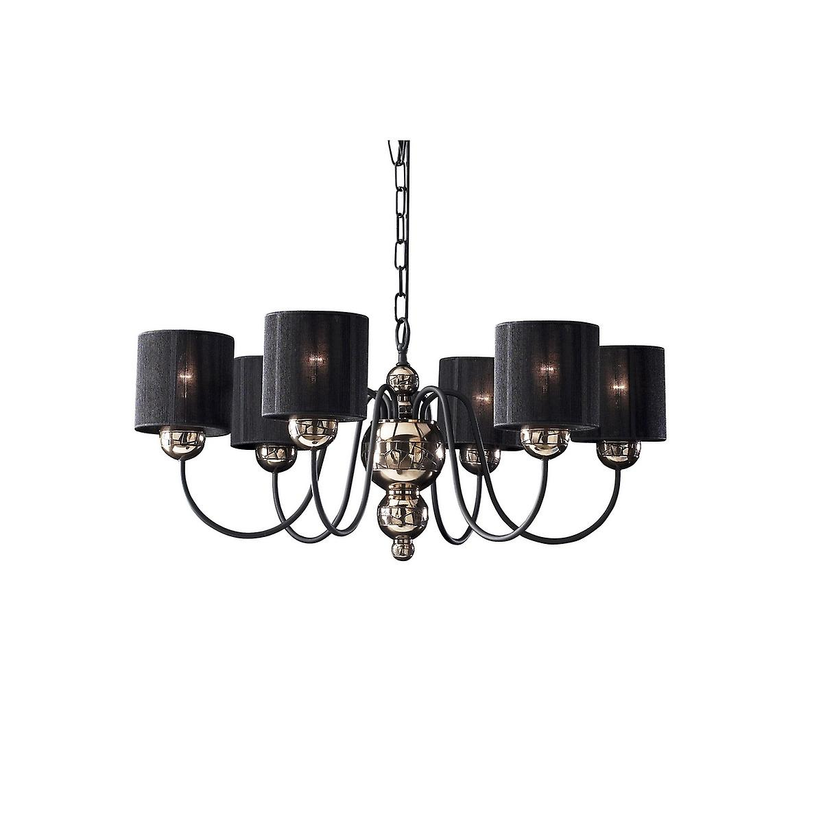 David Hunt GAR0663 Garbo 6 Light Pendant In A Bronze Finish With Black String Shades