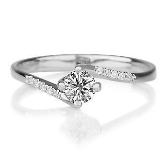 1/2 carat F SI2 diamant förlovningsring 14k vitguld Twist Ring Micro Pave Vintage Ring