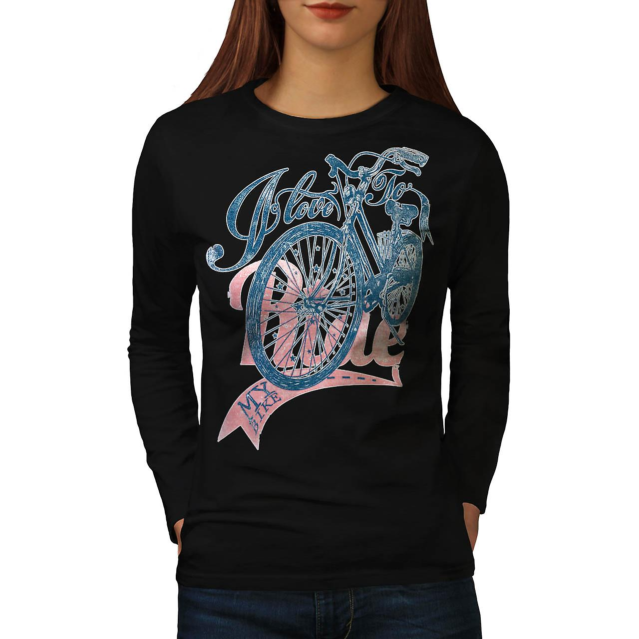 Love To Ride Cycling Bike Pedal Women Black Long Sleeve T-shirt | Wellcoda