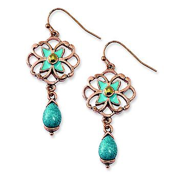 Copper-tone Teal and Brown Glass Stone With Teal Enamel Earrings