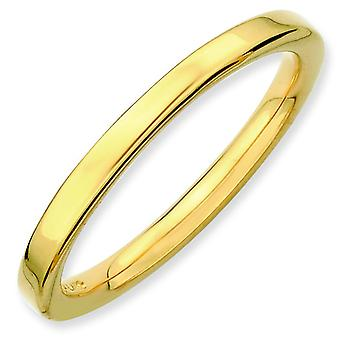 Sterling Silver Stackable Expressions Gold-plated Polished Ring - Ring Size: 5 to 10