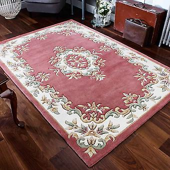 Royal Aubusson Wool Rugs In Pink Cream