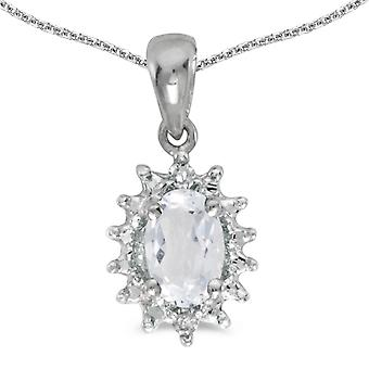 10k White Gold Oval White Topaz And Diamond Pendant with 16