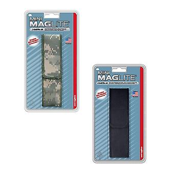 Mini Maglite AA belt holster pouch - durable nylon - velcro full flap closure