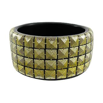 1 1/2 Inch Wide Goldtone Pyramid Studded Lucite Bangle Bracelet