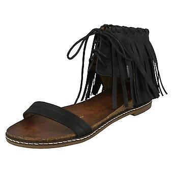Las señoras Savannah Fringe tobillo encaje sandalia F0977