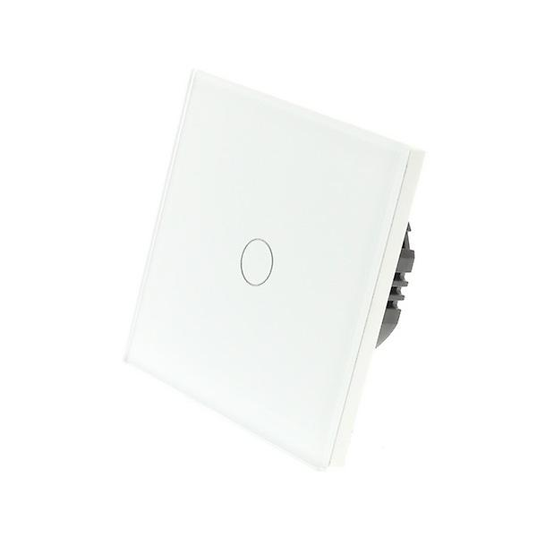I LumoS White Glass 1 Gang 1 Way WIFI/4G Remote & Dimmer Touch LED Light Switch