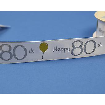 25mm White Happy 80th Birthday Printed Ribbon - 20m | Ribbons & Bows for Crafts