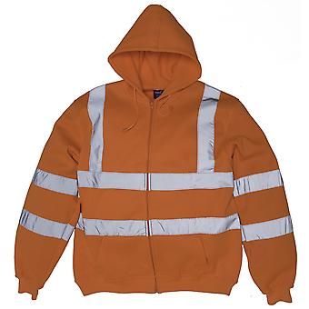 Yoko Mens Hi Visibility Full Zip Reflective Work Hoodie