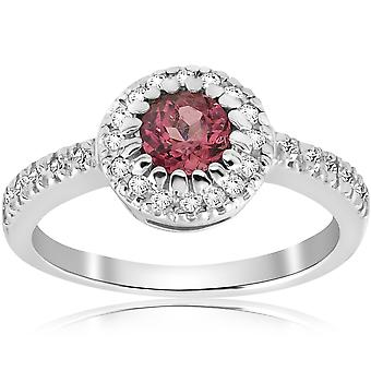Tourmaline rose 3/4CT Halo Pave Diamond Ring 14K White Gold tour Solitaire