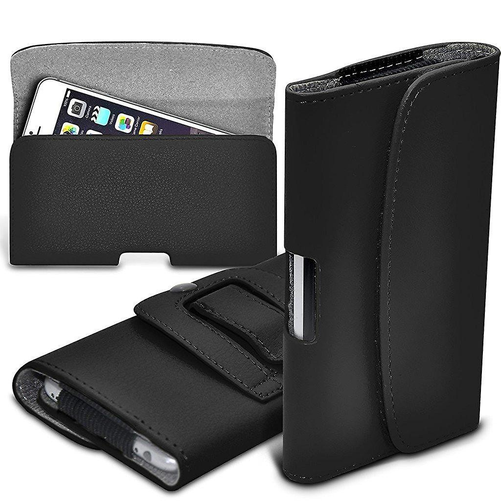 ONX3 (Black) Premium Horizontal Faux Leather Belt Holster Pouch Cover Case With Magnetic Closure For Sony Xperia L1