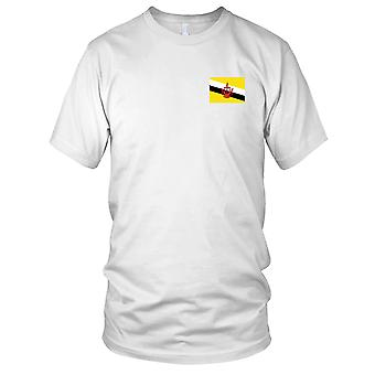 Brunei Country National Flag - Embroidered Logo - 100% Cotton T-Shirt Ladies T Shirt