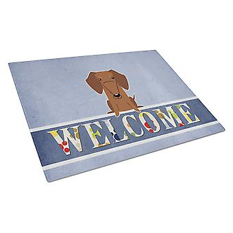 Dachshund Red Brown Welcome Glass Cutting Board Large
