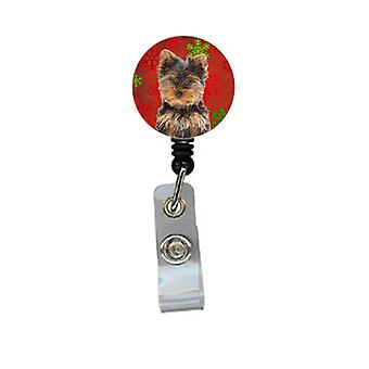 Red Snowflakes Holiday Christmas Yorkie Puppy / Yorkshire Terrier Retractable Ba