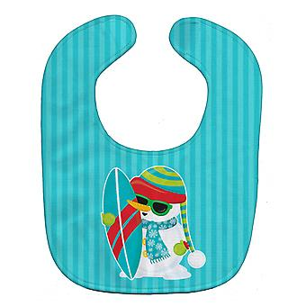 Carolines Treasures  BB9076BIB Beach Snowman Surfer Baby Bib