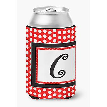 Letter C Initial Monogram - Red Black Polka Dots Can or Bottle Beverage Insulato