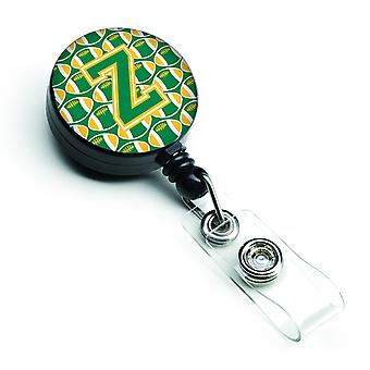 Letter Z Football Green and Gold Retractable Badge Reel