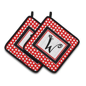 Monogram - Initial W Red Black Polka Dots Pair of Pot Holders