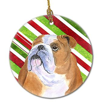 Bulldog English Candy Cane Holiday Christmas Ceramic Ornament SS4560