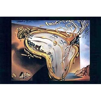 Smeltende ur på tidspunktet for første Explosi plakat Print af Salvador Dali (37 x 27)
