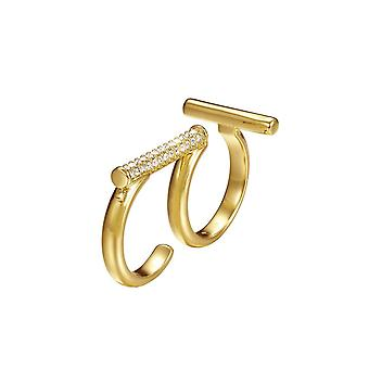 Joop women's ring stainless steel gold delicate double ring JPRG00006B1