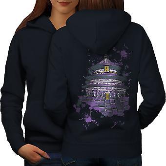 Chaina Art Temple Fantasy Women NavyHoodie Back | Wellcoda