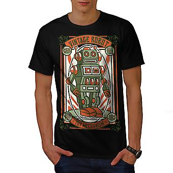 Vintage Old Robot Geek Men BlackT-shirt | Wellcoda