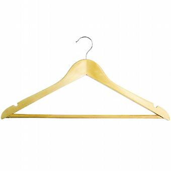 100x Caraselle Wooden Shaped Suit Hangers w. Trouser Bar/Notches/Hook