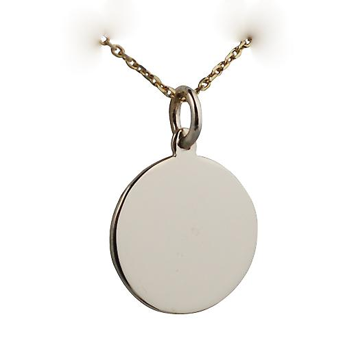 9ct Gold 17mm round plain Disc with a cable Chain 16 inches