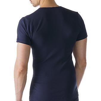 Mey 49107-668 Männer Casual Baumwolle Blau einfarbig Kurzarm Top