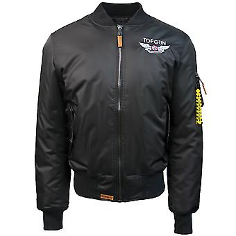 Top Gun Official MA 1 Wings Bomber Jacket with Patches Black