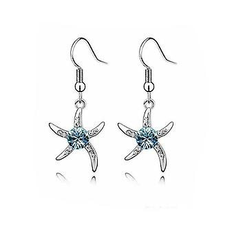 Womens Silver Starfish Earrings in Blue