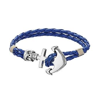 Bracelet man skull and anchor braided leather blue and stainless