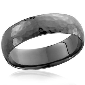 Mens 14K Black Gold Hammered Wedding Ring 6mm New Band