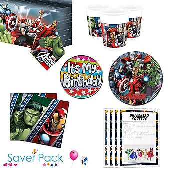 Avengers party tableware saver pack for 8, 16, 24 or 32 guests