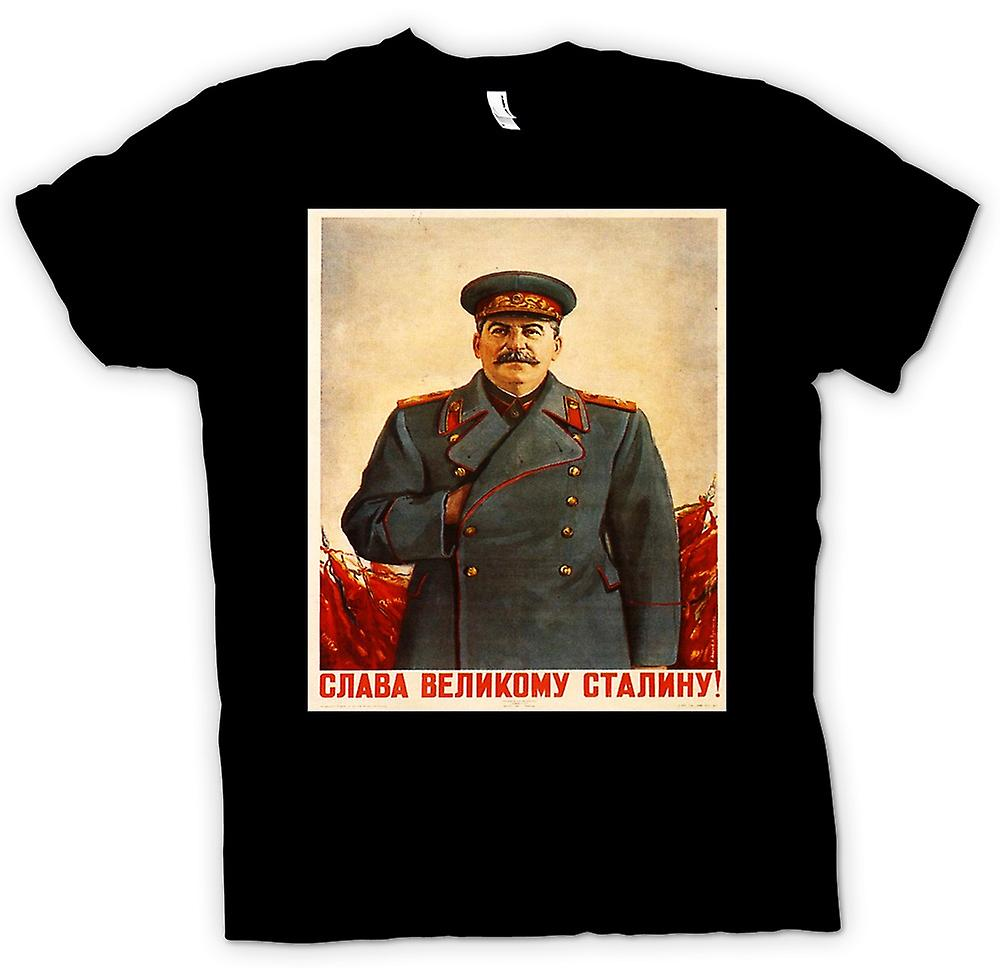 Womens T-shirt - Russian Propoganda Poster - Stalin