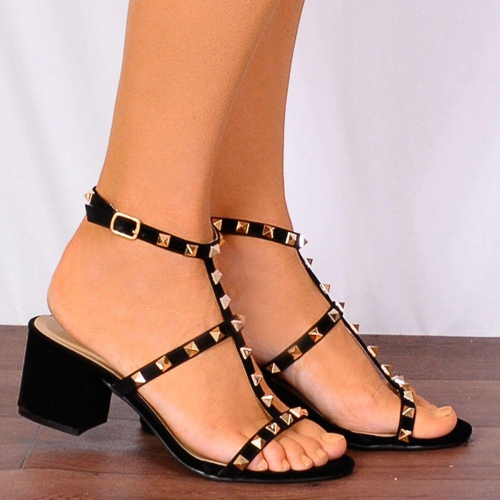 schuh schrank studs damen frr30 schwarze gold studs schrank nieten peep toes riemchen sandalen. Black Bedroom Furniture Sets. Home Design Ideas