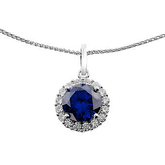 Orphelia Silver 925 Chain With Pendant Blue Zirconia  ZH-6044