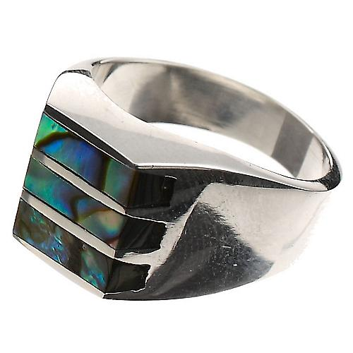Paua Shell Silver Solid Ring