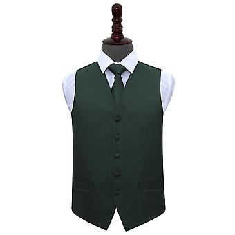 Dark Green Greek Key Wedding Waistcoat & Tie Set