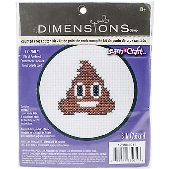 Learn-A-Craft Pile Of Poo Emoji Mini Counted Cross Stitch-3