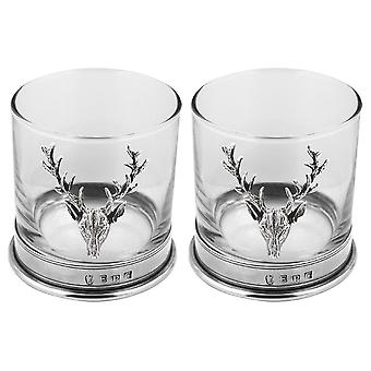 Stag Pewter Whisky Glass Tumbler - Set of 2