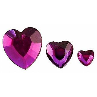 Assortiment Purple Heart Shaped strass acryliques - 310pk