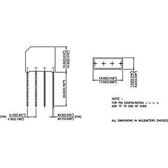 Vishay 2KBB100 Diode bridge SIP 4 1000 V 1.9 A 1-phase