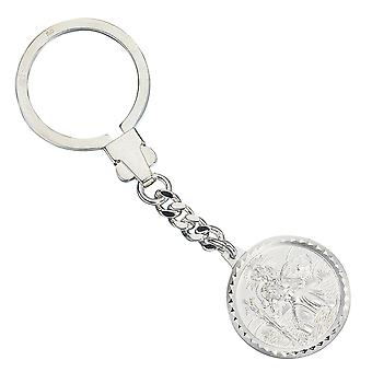 925 sterling silver frosted Keychain Patron Saint Christopher